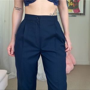 Vintage High Waisted Navy Blue Pants